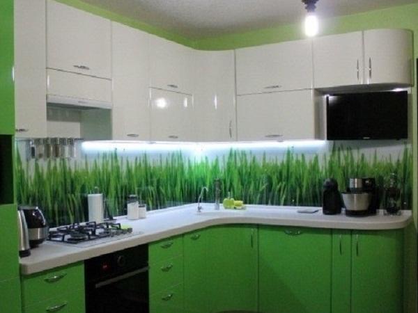 Зеленая кухня с фото травы