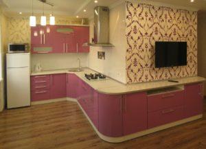 Красная кухня угловая